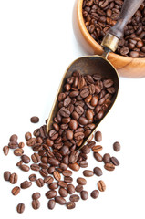 vintage scoop with coffee beans isolated on white
