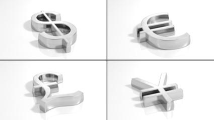 Set of 3d silver money symbols