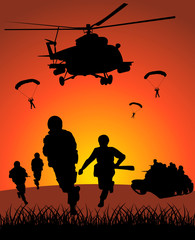 Wall Murals Military Military action against the sunset