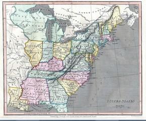 Keuken foto achterwand Wereldkaart USA old map