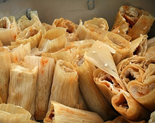Big batch of tamales in a pot