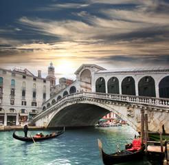 Wenecja z mostu Rialto we Włoszech