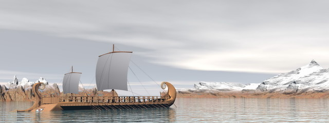 Greek trireme boats - 3D render
