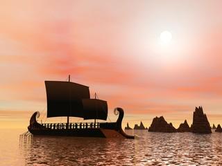 Greek trireme boat - 3D render