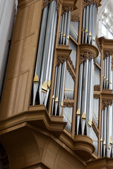 Close-up of a pipe organ in a Cathedral