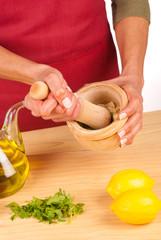 Garlic inside a mortar