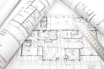 Wall Mural - House plan blueprints