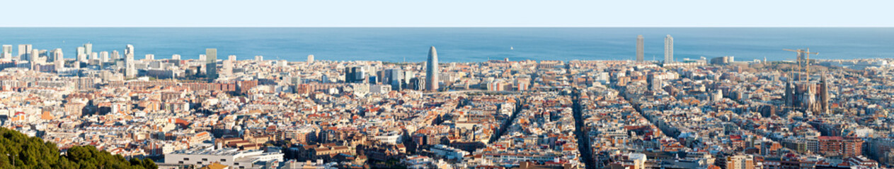 Aerial Panorama of Barcelona with High Detail
