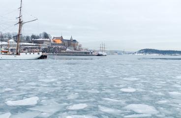 Akershus castle, icy fjord