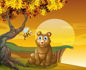 Wall Murals Bears A brown bear and a bee near the cliff