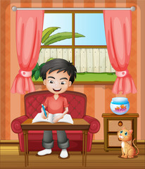 A young boy writing