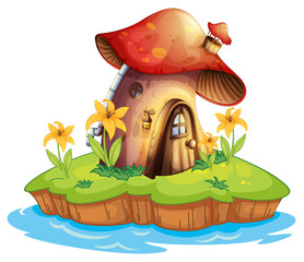 Garden Poster Magic world A mushroom house