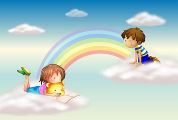 Photo sur Plexiglas Arc en ciel A rainbow with kids