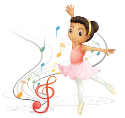 A girl dancing with musical notes