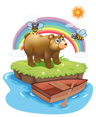 A bear and bees in an island