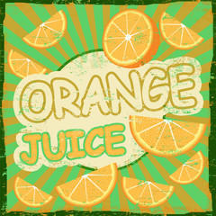 Vintage orange juice retro poster