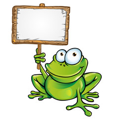 frog  with signboard