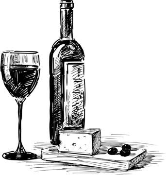 grape wine and cheese