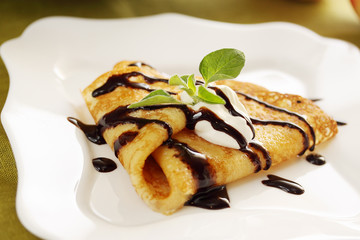 Pancake with hot chocolate