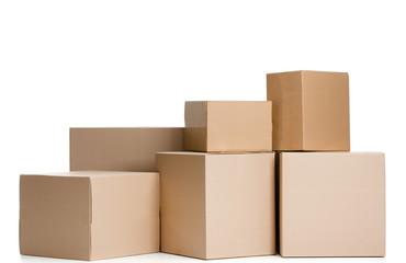 Set of boxes, isolated, white background