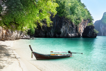 boat on beach of island in Krabi Province, Thailand