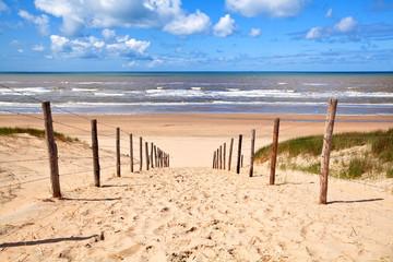 Fototapeta premium ścieżka do piaszczystej plaży nad Morzem Północnym