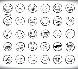 Hand drawn emoticons