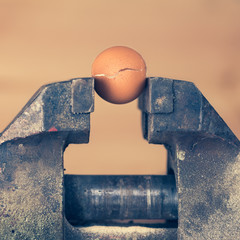 An Egg Cracking under Pressure from Vice (color toned Image)