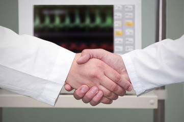 handshake in the hospital.