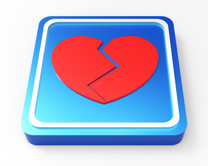 Broken Heart button 3D