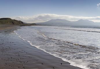 Sea coast at Dinas Dinlle in Gwynedd, Wales, UK