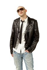 portrait of man with black leather jacket