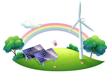 A solar energy and a windmill