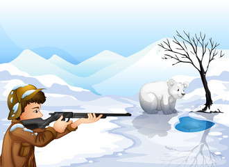 A boy shooting the bear
