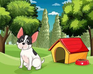 Poster de jardin Chiens A dog near a doghouse with a dog food