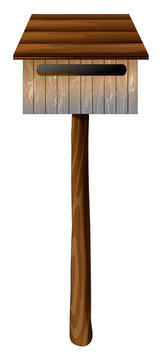 A wooden mailbox with a post