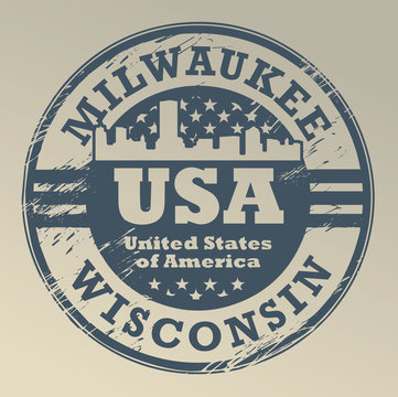 Grunge rubber stamp with name of Wisconsin, Milwaukee, vector