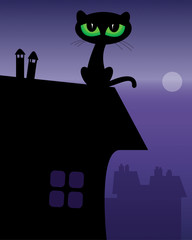 Black Cat on roof, vector illustration
