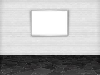 Raum mit weißer Ziegelwand und Bilderrahmen