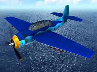 Spoed Fotobehang Vliegtuigen, ballon Torpedo bomber fly over ocean