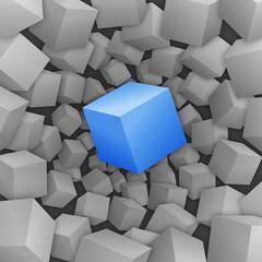 Blauer 3D-Würfel