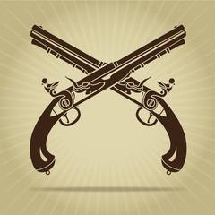 Vintage Crossed Flintlock Pistols Silhouette