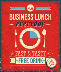 Fototapeten Weinlese-Plakat Vintage Bussiness Lunch Poster. Vector illustration.