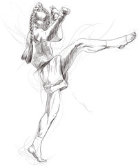 Muay Thai (combat martial art from Thailand) - hand drawing