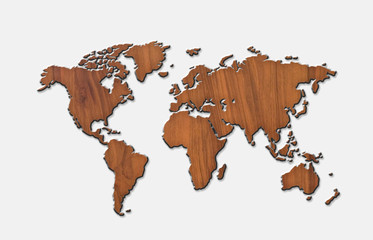 world map carving on wood board. white background