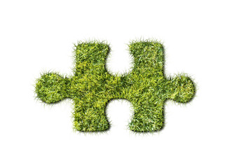 Puzzles from grass on white background