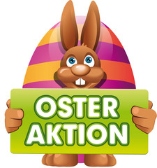 Osterhase mit Schild Osteraktion