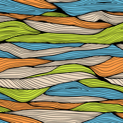 Seamless hand drawn horizontal background with colorful waves