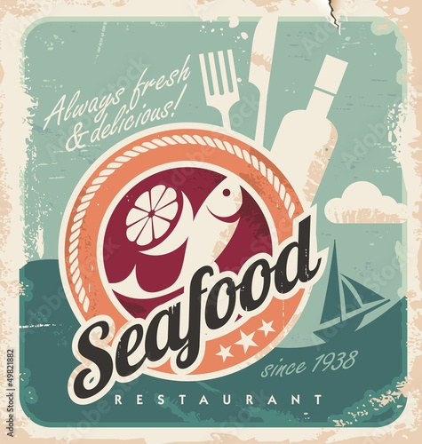 Wall mural Vintage poster for seafood restaurant