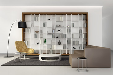 Interior of bookcase lounge living room